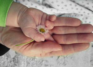 妊娠中のママと子供の手